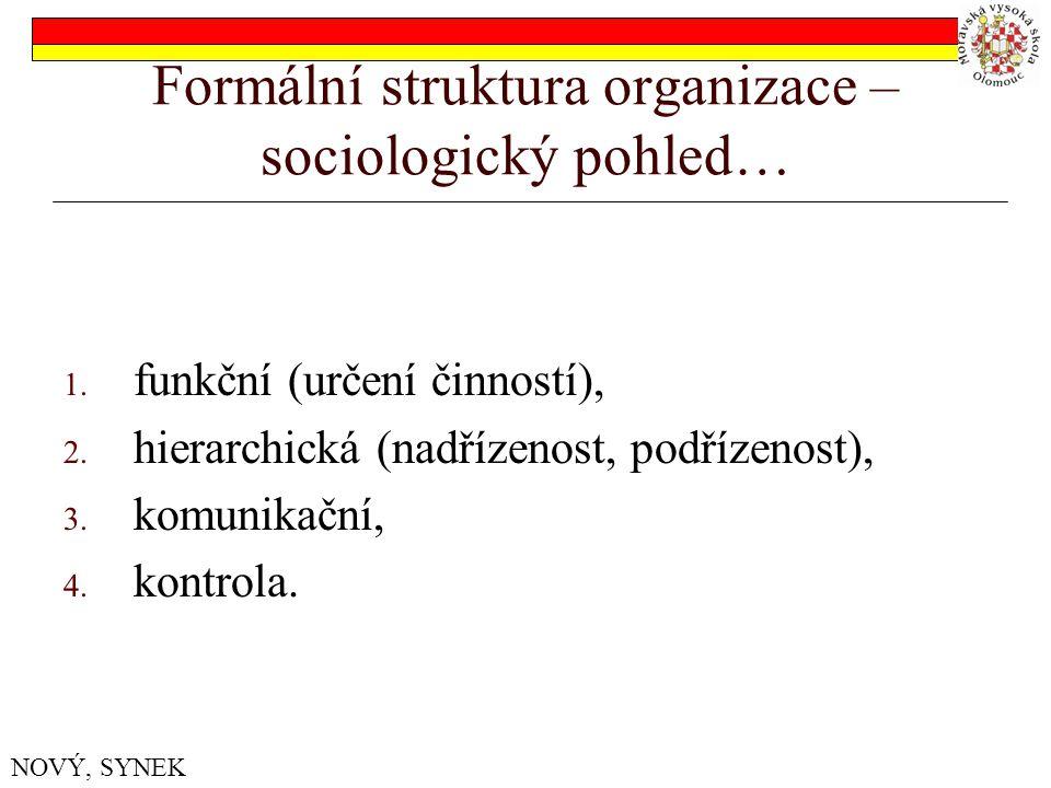 Formální struktura organizace – sociologický pohled…