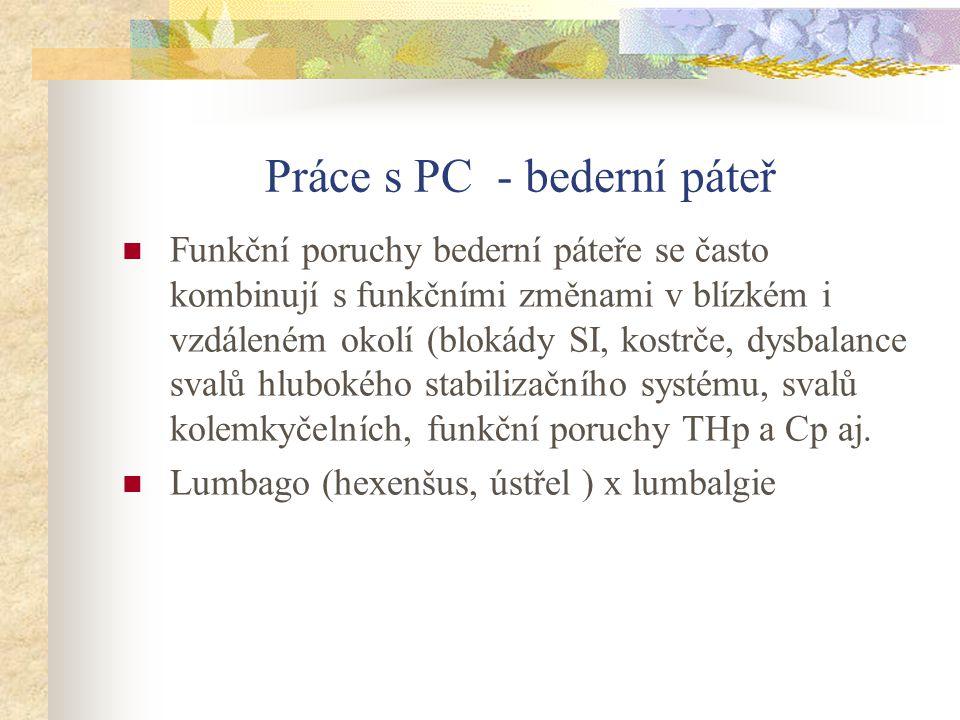 Práce s PC - bederní páteř