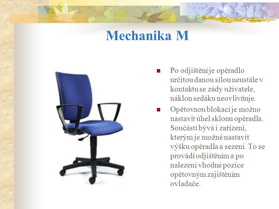 Mechanika M Po odjištění je opěradlo určitou danou silou neustále v kontaktu se zády uživatele, náklon sedáku neovlivňuje.