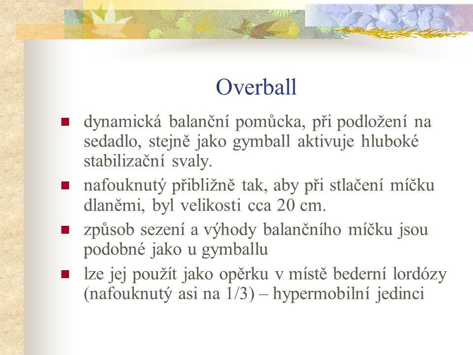 Overball dynamická balanční pomůcka, při podložení na sedadlo, stejně jako gymball aktivuje hluboké stabilizační svaly.