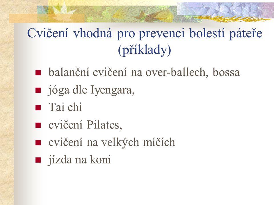 Cvičení vhodná pro prevenci bolestí páteře (příklady)
