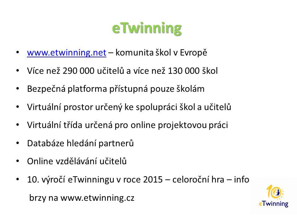 eTwinning www.etwinning.net – komunita škol v Evropě
