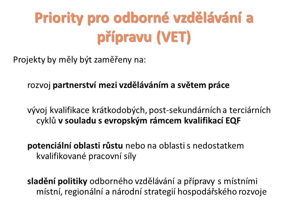 Priority pro odborné vzdělávání a přípravu (VET)