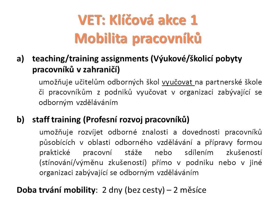 VET: Klíčová akce 1 Mobilita pracovníků
