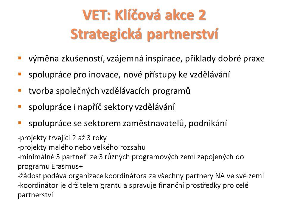 VET: Klíčová akce 2 Strategická partnerství