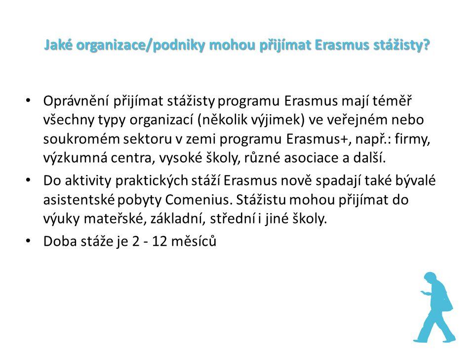 Jaké organizace/podniky mohou přijímat Erasmus stážisty