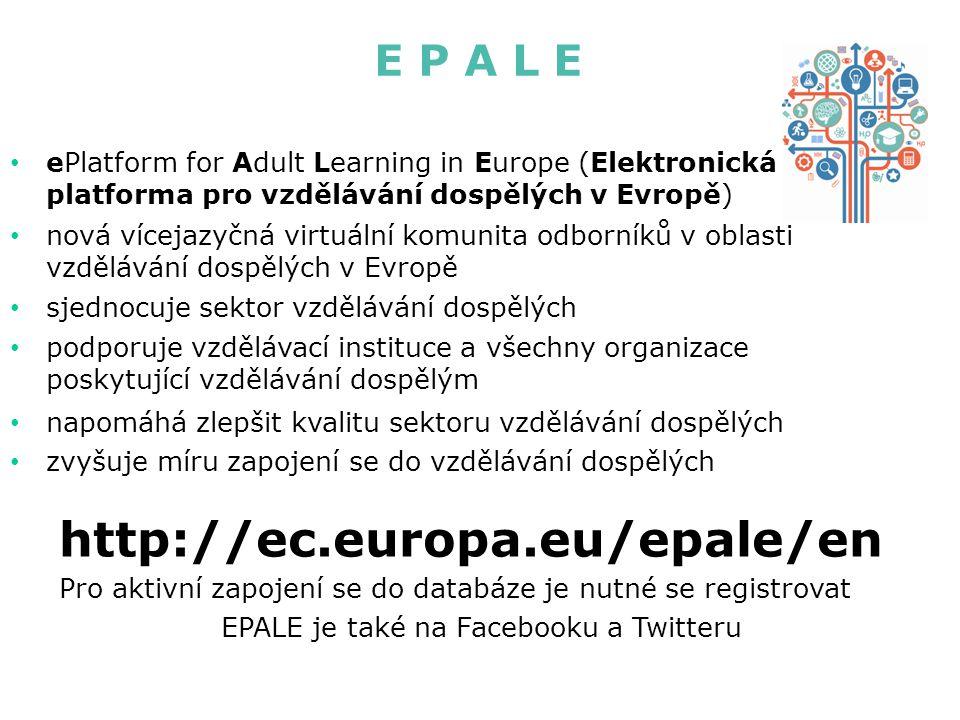 EPALE je také na Facebooku a Twitteru