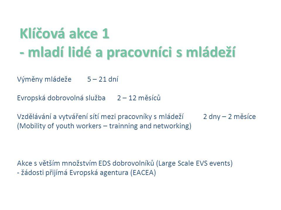 Klíčová akce 1 - mladí lidé a pracovníci s mládeží