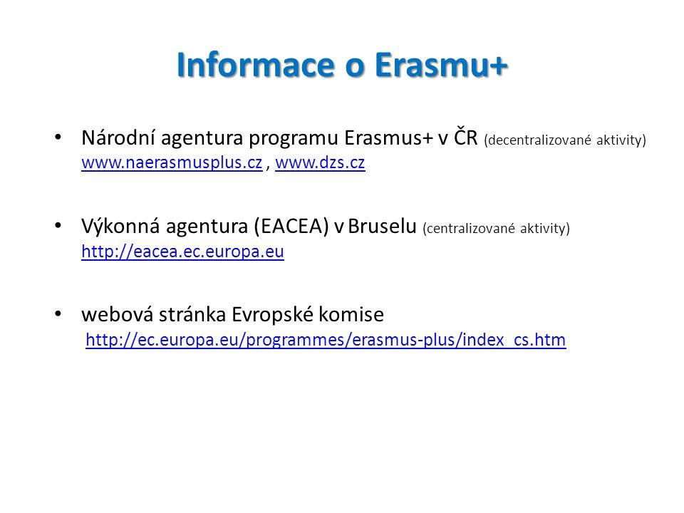Informace o Erasmu+ Národní agentura programu Erasmus+ v ČR (decentralizované aktivity) www.naerasmusplus.cz , www.dzs.cz.