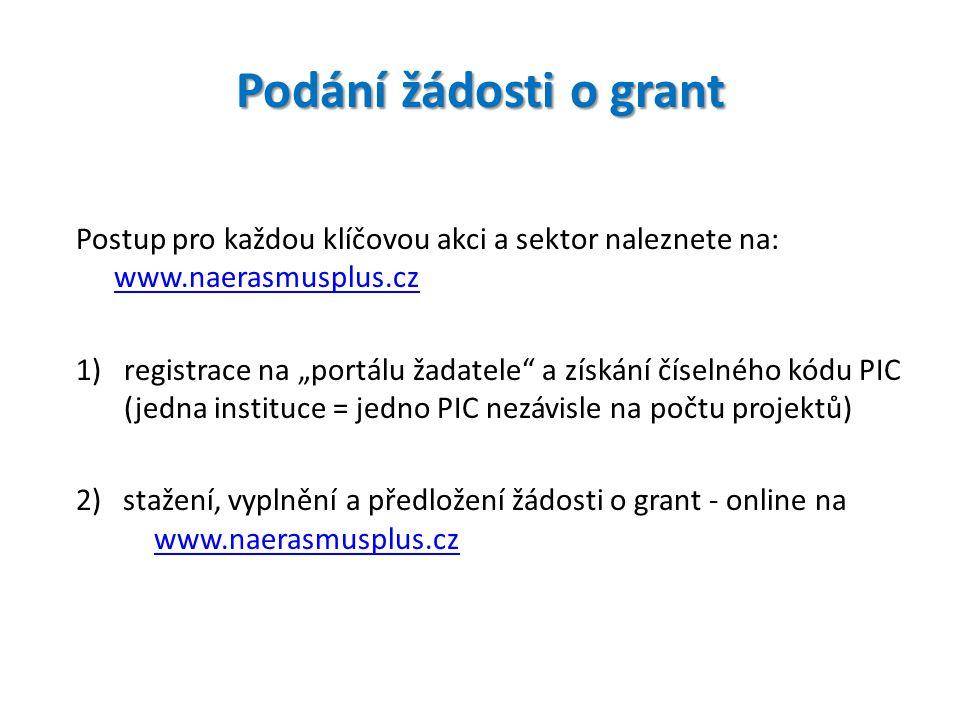 Podání žádosti o grant Postup pro každou klíčovou akci a sektor naleznete na: www.naerasmusplus.cz.