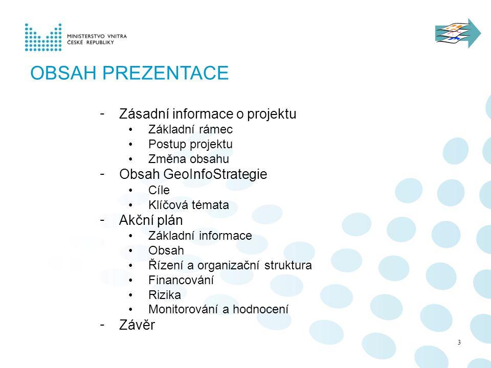 Obsah prezentace Zásadní informace o projektu Obsah GeoInfoStrategie