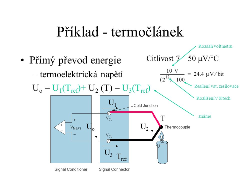 Příklad - termočlánek Přímý převod energie termoelektrická napětí