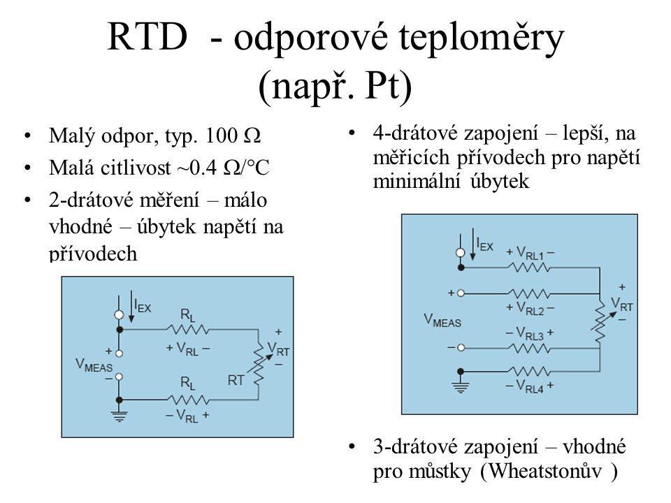 RTD - odporové teploměry (např. Pt)