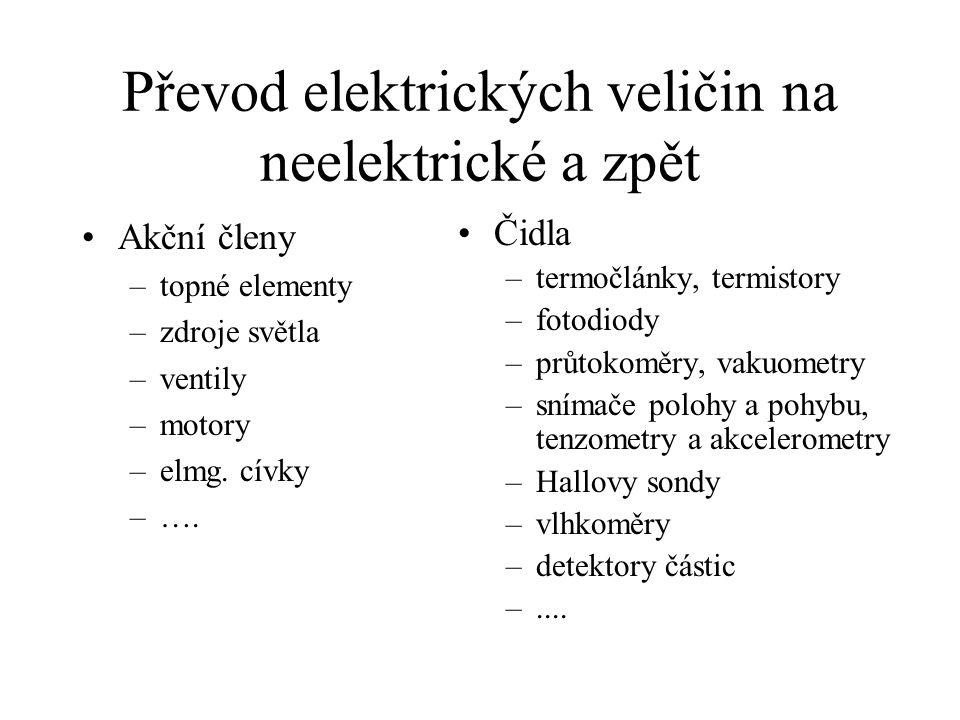 Převod elektrických veličin na neelektrické a zpět