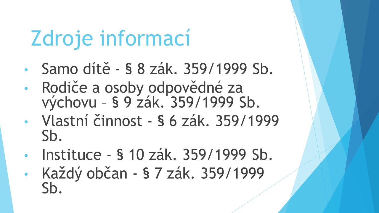 Zdroje informací Samo dítě - § 8 zák. 359/1999 Sb.