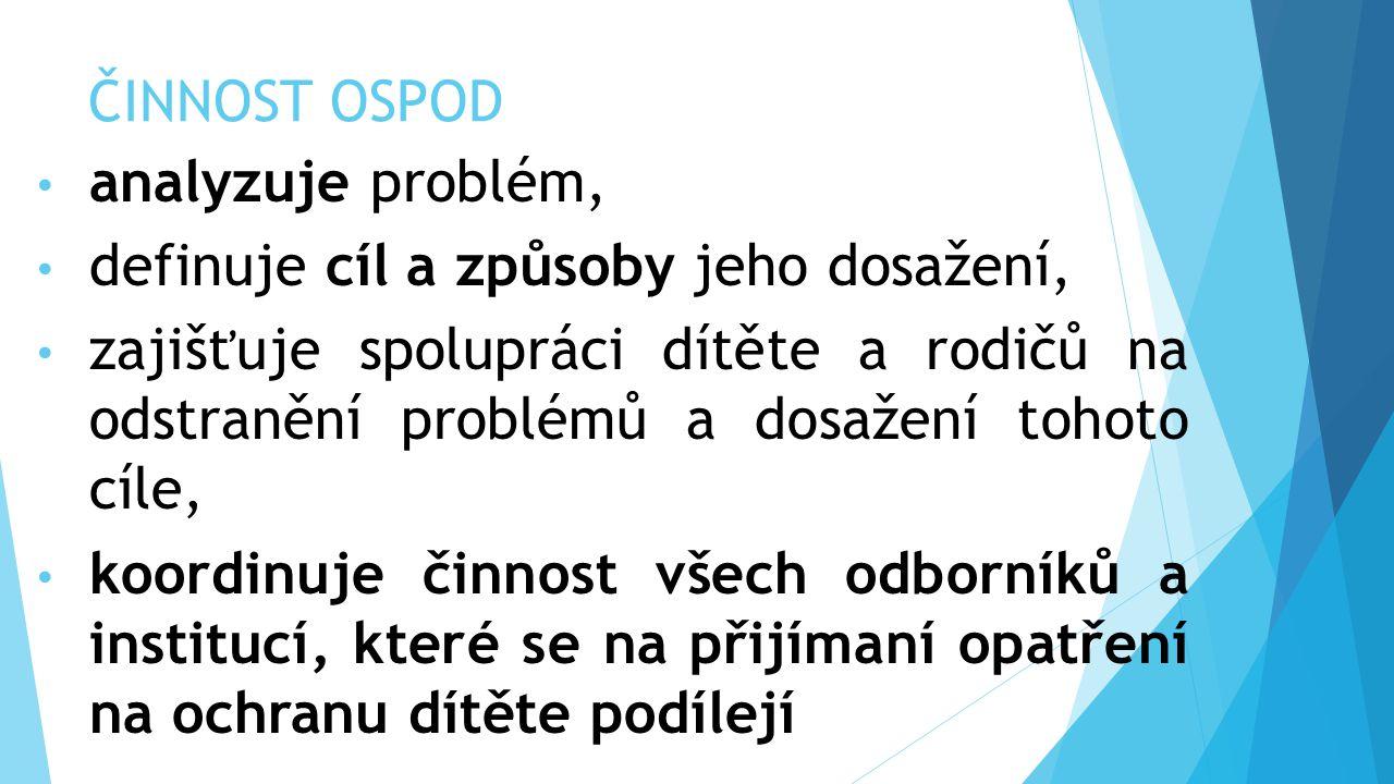 ČINNOST OSPOD analyzuje problém, definuje cíl a způsoby jeho dosažení,