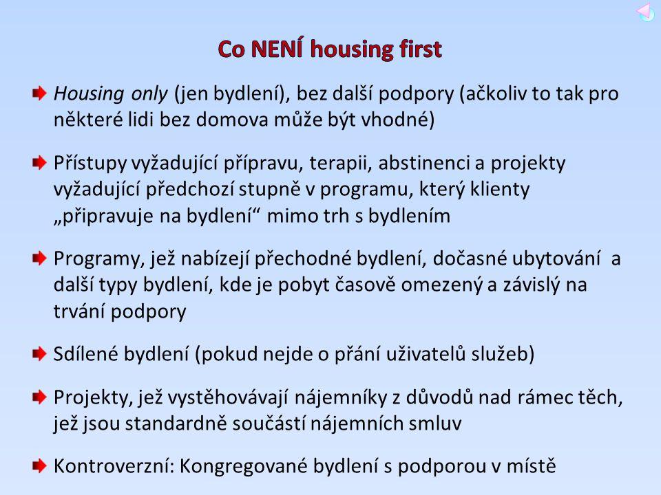 Co NENÍ housing first Housing only (jen bydlení), bez další podpory (ačkoliv to tak pro některé lidi bez domova může být vhodné)