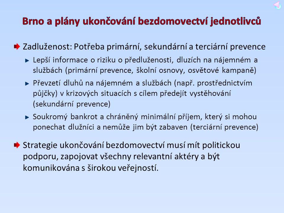 Brno a plány ukončování bezdomovectví jednotlivců
