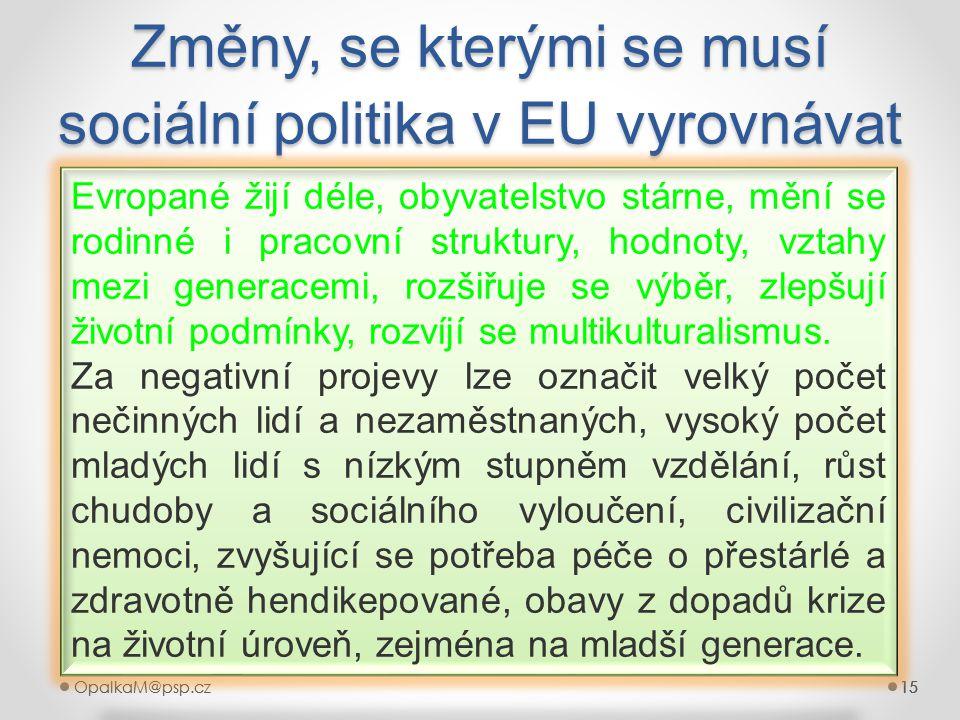 Změny, se kterými se musí sociální politika v EU vyrovnávat