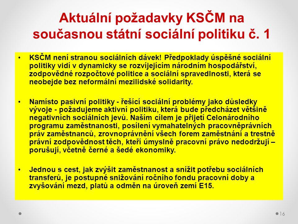 Aktuální požadavky KSČM na současnou státní sociální politiku č. 1