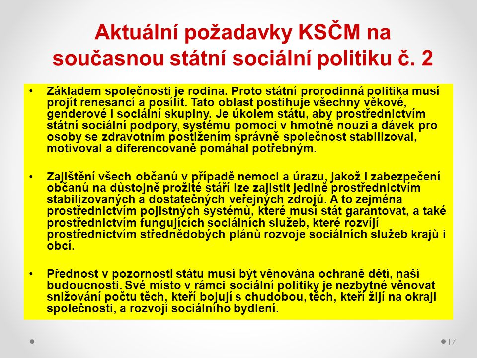 Aktuální požadavky KSČM na současnou státní sociální politiku č. 2