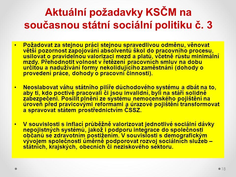 Aktuální požadavky KSČM na současnou státní sociální politiku č. 3