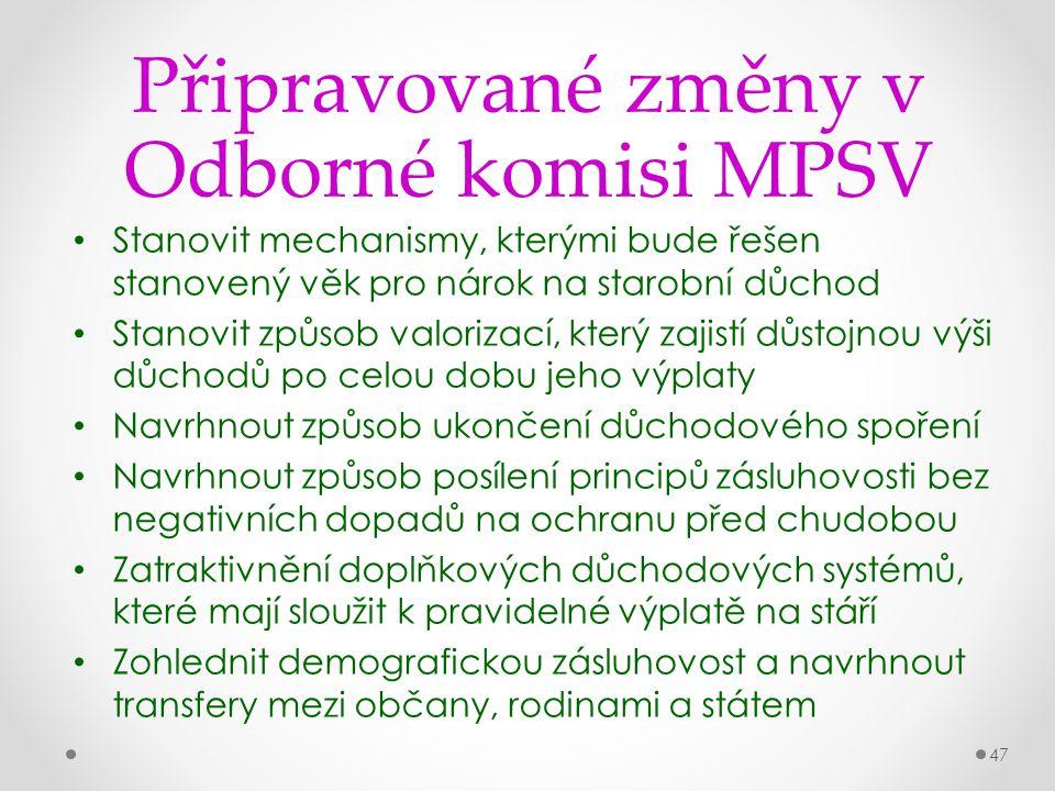 Připravované změny v Odborné komisi MPSV