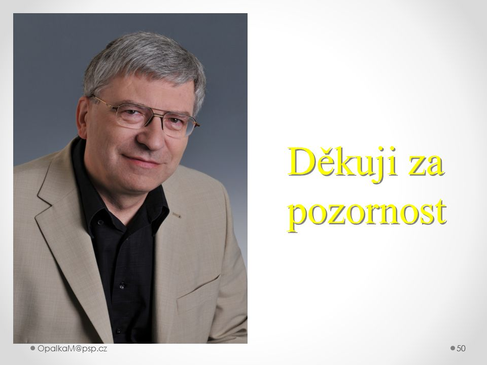 Děkuji za pozornost OpalkaM@psp.cz OpalkaM@psp.cz 50 50