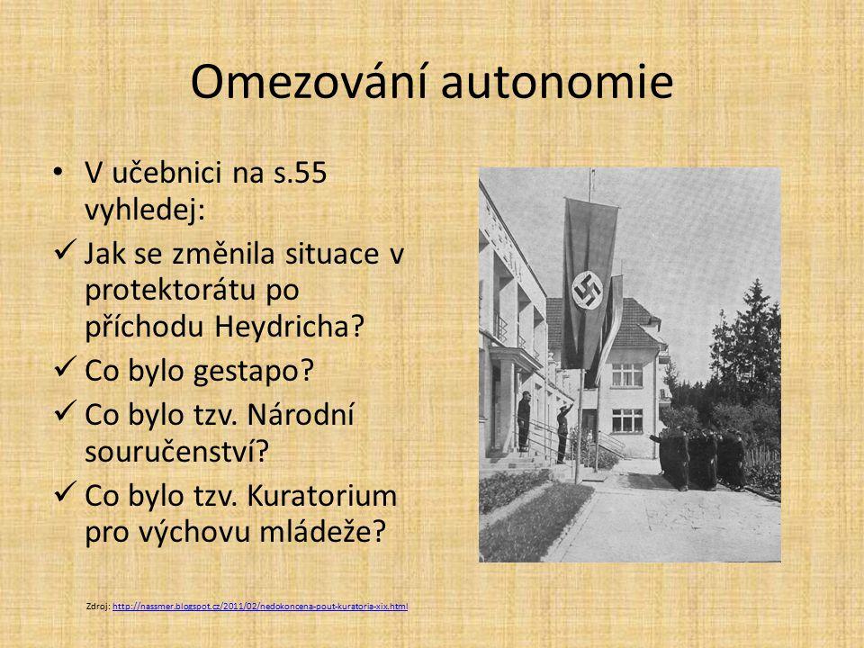 Omezování autonomie V učebnici na s.55 vyhledej: