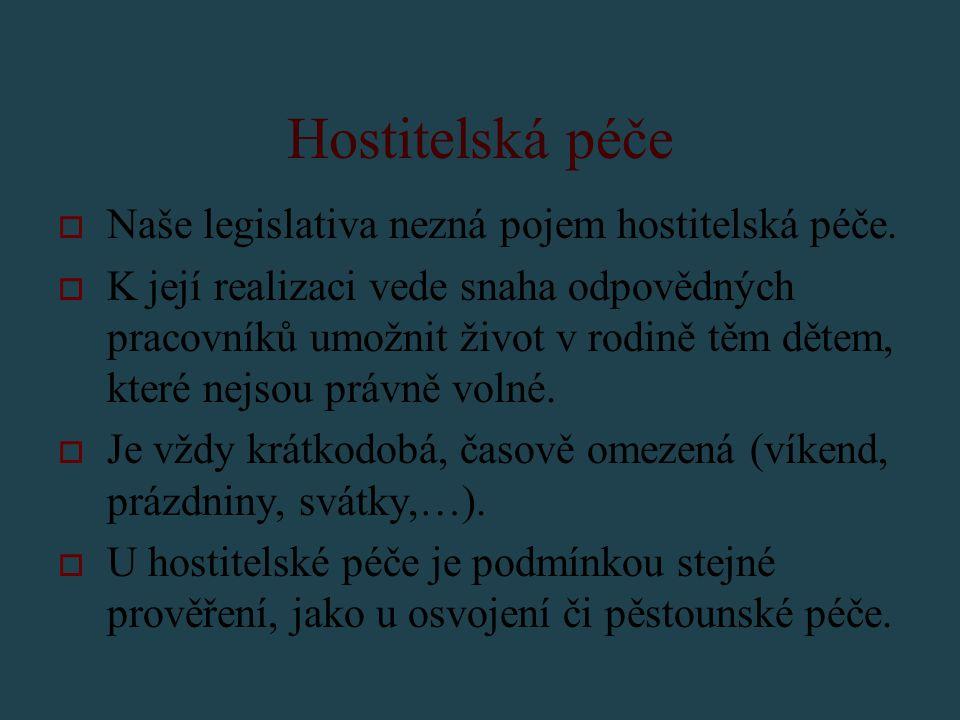 Hostitelská péče Naše legislativa nezná pojem hostitelská péče.