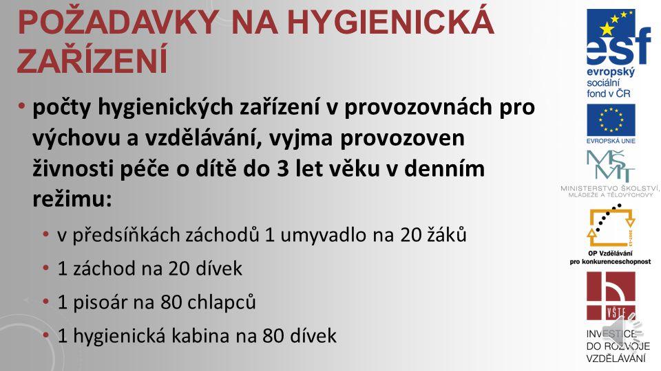 požadavky na hygienická zařízení