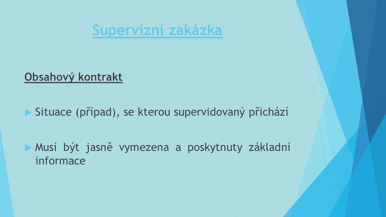 Supervizní zakázka Obsahový kontrakt