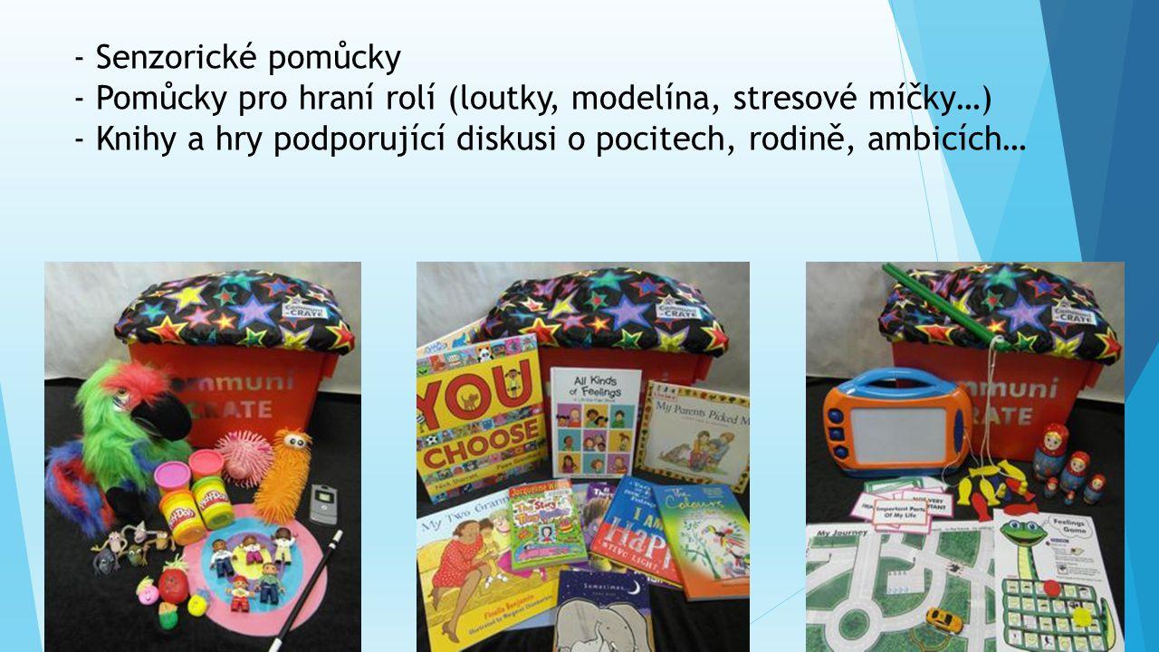 - Senzorické pomůcky - Pomůcky pro hraní rolí (loutky, modelína, stresové míčky…) - Knihy a hry podporující diskusi o pocitech, rodině, ambicích…