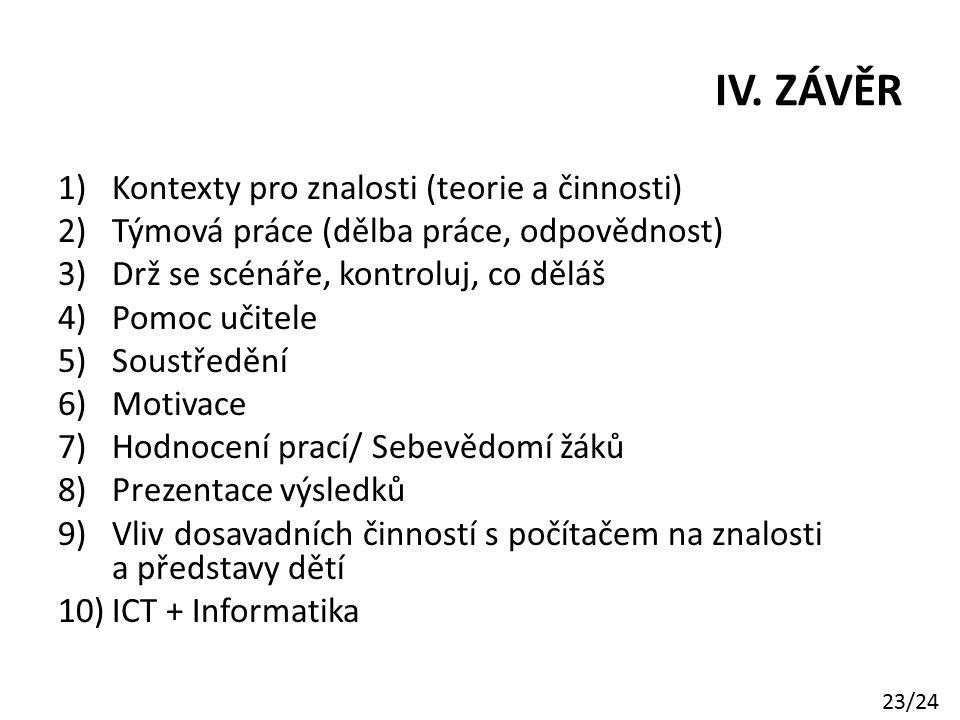 IV. ZÁVĚR Kontexty pro znalosti (teorie a činnosti)