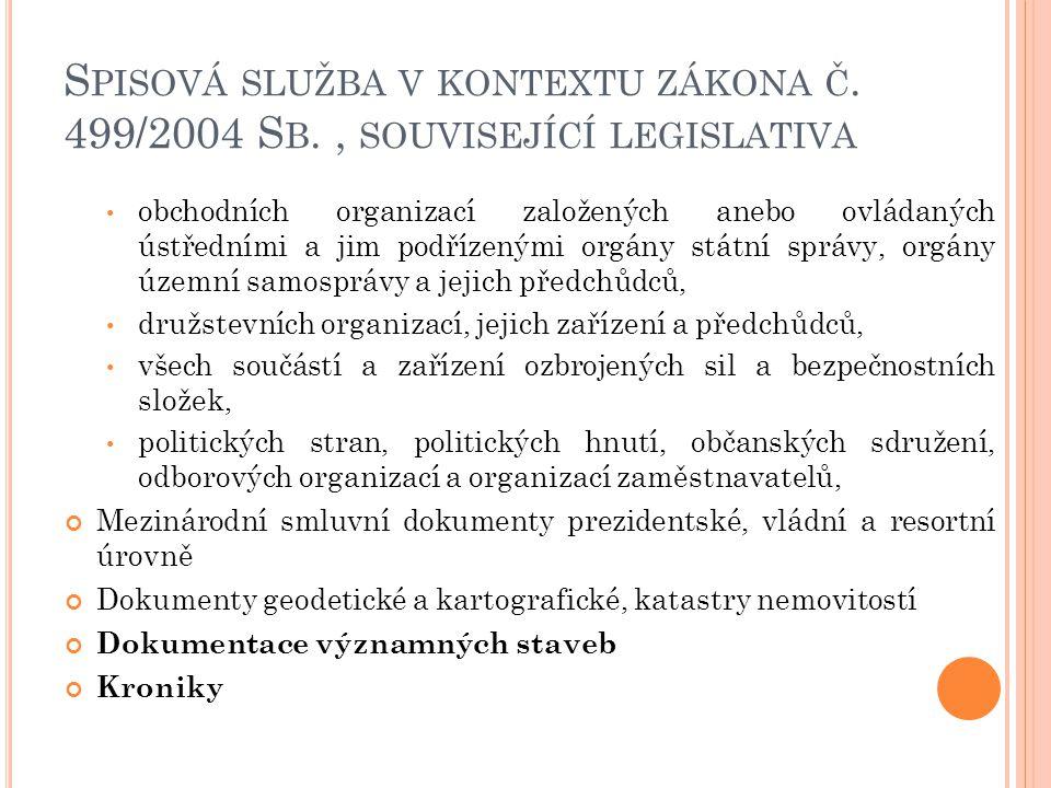 Spisová služba v kontextu zákona č. 499/2004 Sb