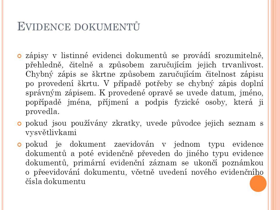 Evidence dokumentů