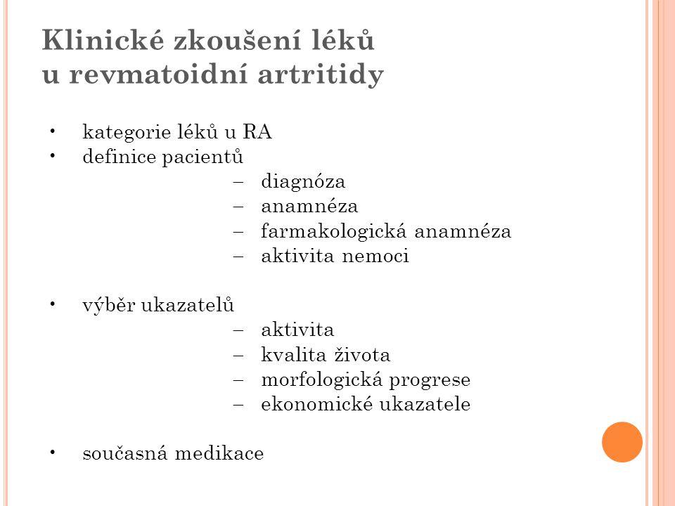 Klinické zkoušení léků u revmatoidní artritidy