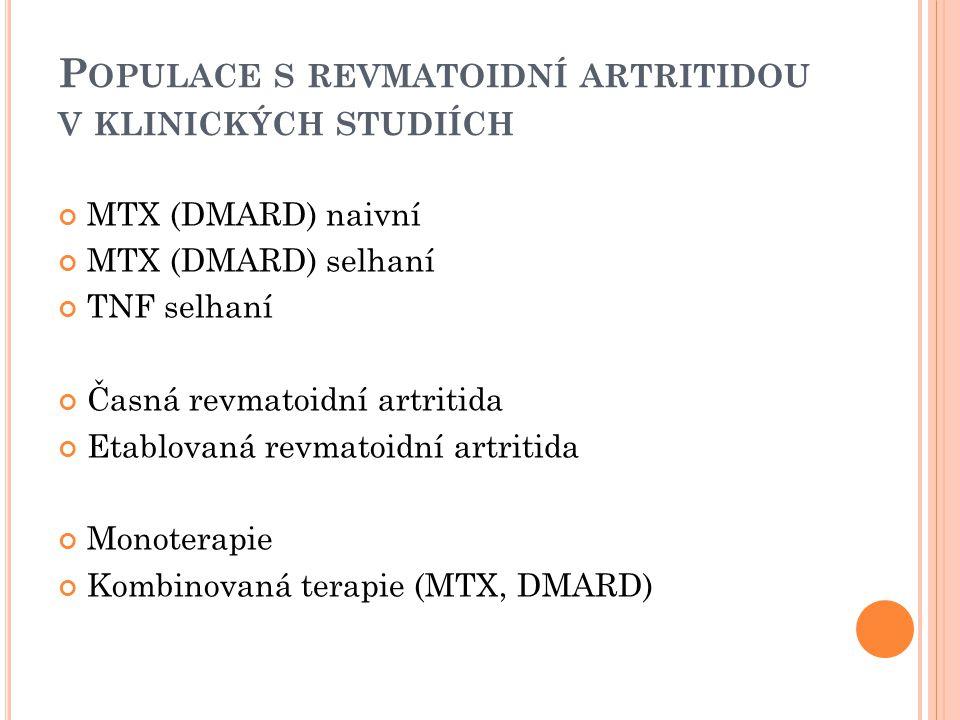 Populace s revmatoidní artritidou v klinických studiích