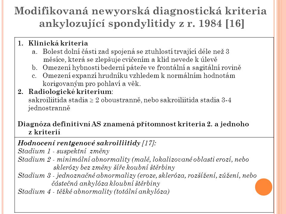 Modifikovaná newyorská diagnostická kriteria