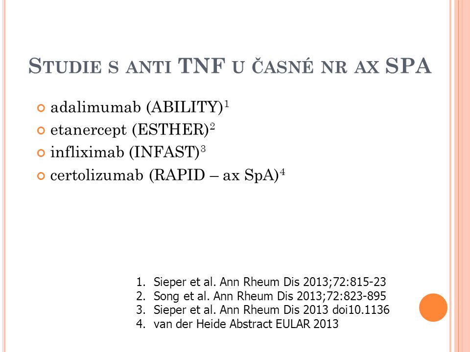 Studie s anti TNF u časné nr ax SPA