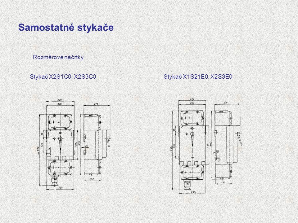 Samostatné stykače Rozměrové náčrtky Stykač X2S1C0, X2S3C0