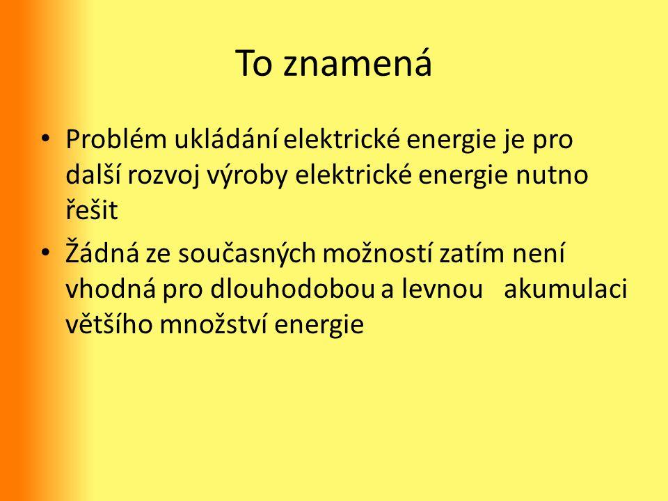 To znamená Problém ukládání elektrické energie je pro další rozvoj výroby elektrické energie nutno řešit.