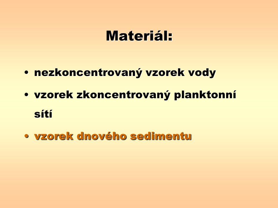 Materiál: nezkoncentrovaný vzorek vody