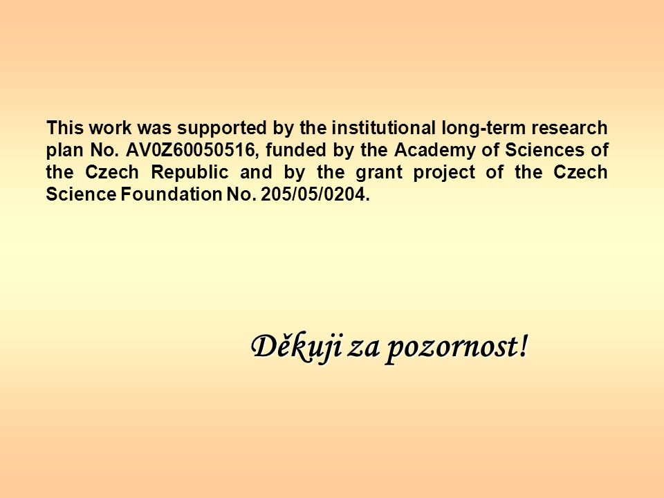 This work was supported by the institutional long-term research plan No. AV0Z60050516, funded by the Academy of Sciences of the Czech Republic and by the grant project of the Czech Science Foundation No. 205/05/0204.