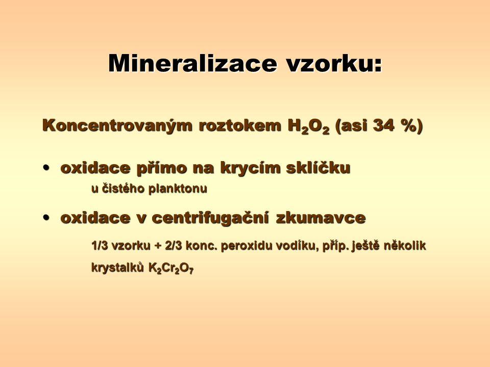 Mineralizace vzorku: Koncentrovaným roztokem H2O2 (asi 34 %)