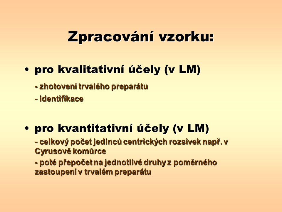 Zpracování vzorku: pro kvalitativní účely (v LM)