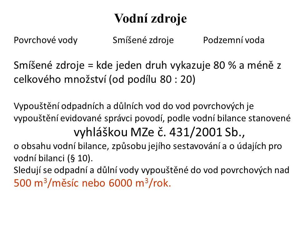Vodní zdroje vyhláškou MZe č. 431/2001 Sb.,