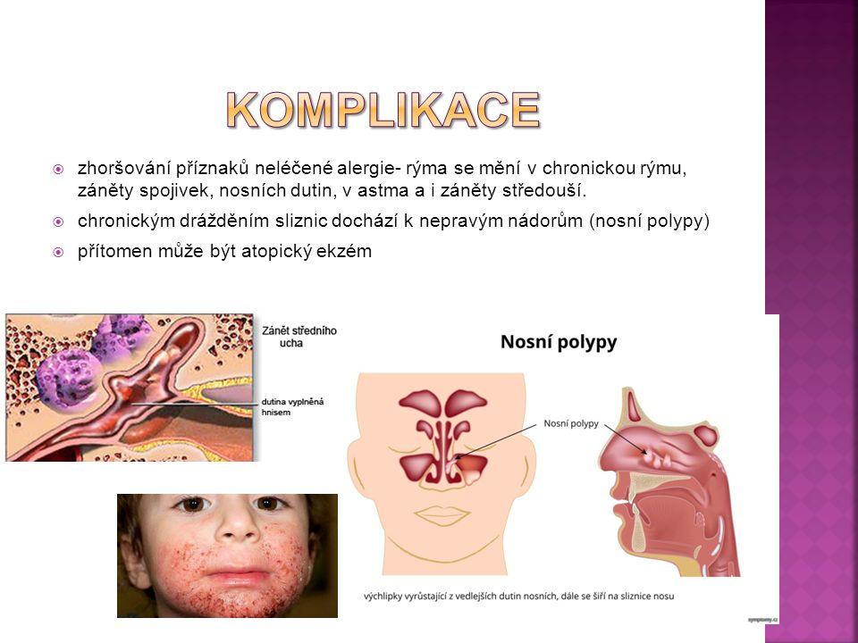 Komplikace zhoršování příznaků neléčené alergie- rýma se mění v chronickou rýmu, záněty spojivek, nosních dutin, v astma a i záněty středouší.