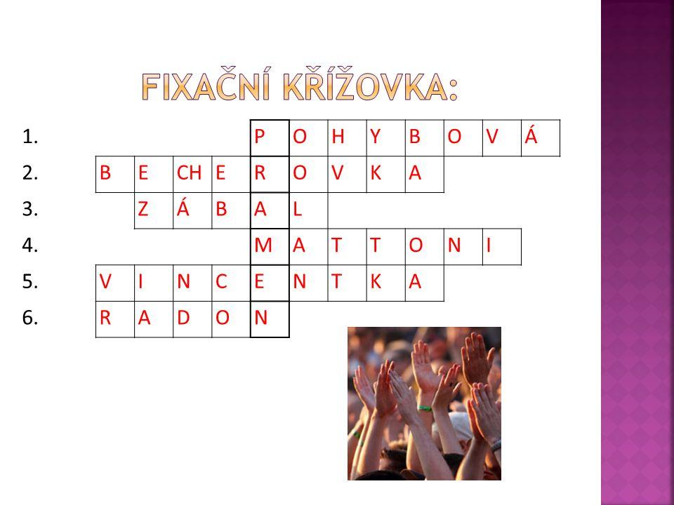Fixační křížovka: 1. P O H Y B V Á 2. E CH R K A 3. Z L 4. M T N I 5.