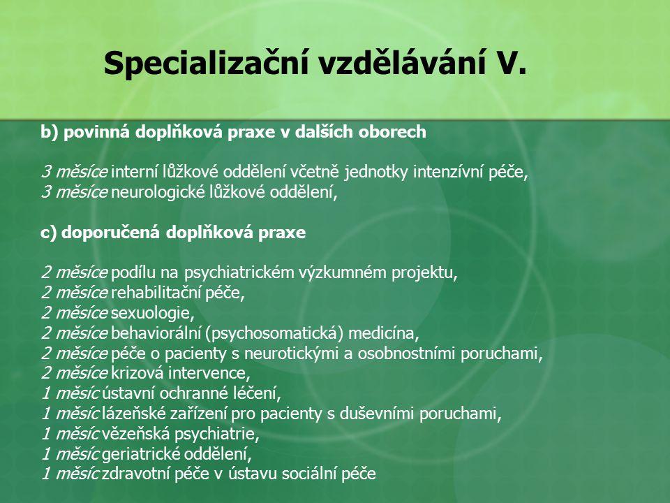 Specializační vzdělávání V.